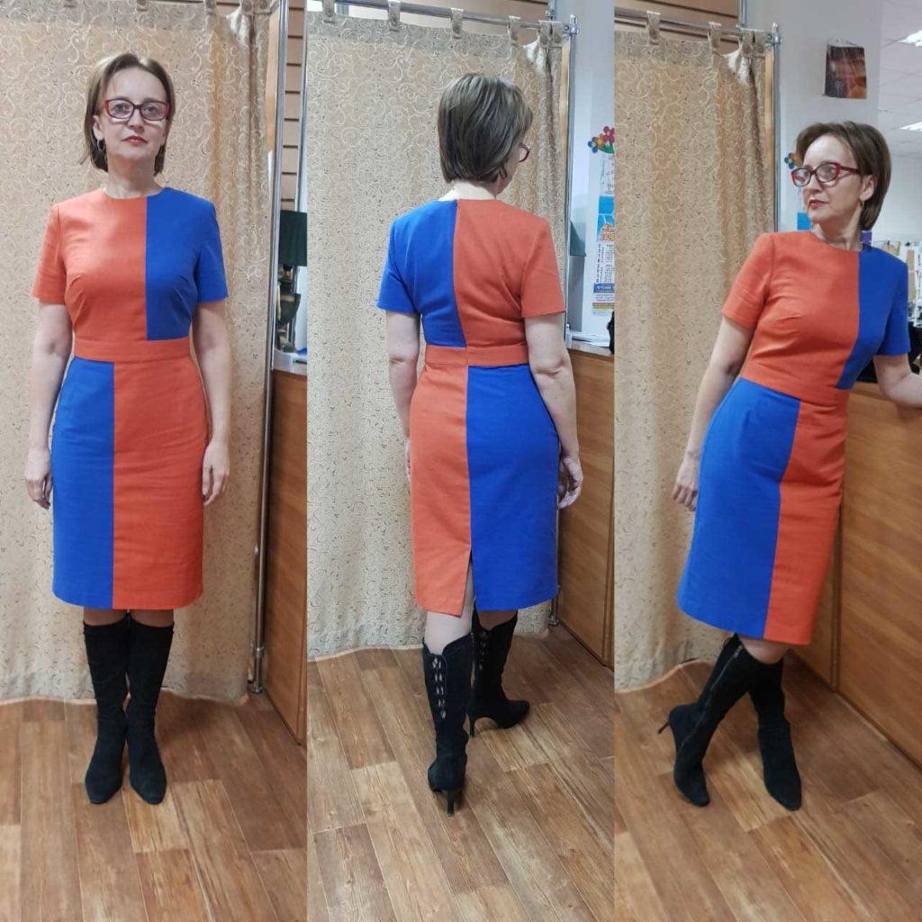 Платье в стиле колор блок